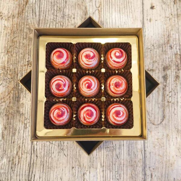 Raspberry Split Caramel (9 Chocolate Box)